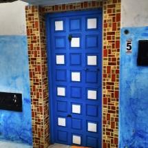 Medina Blue Door w brown tile