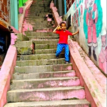 Medellin Comuna 13 staircase with boy
