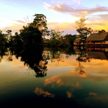 Sunset reflections and homes